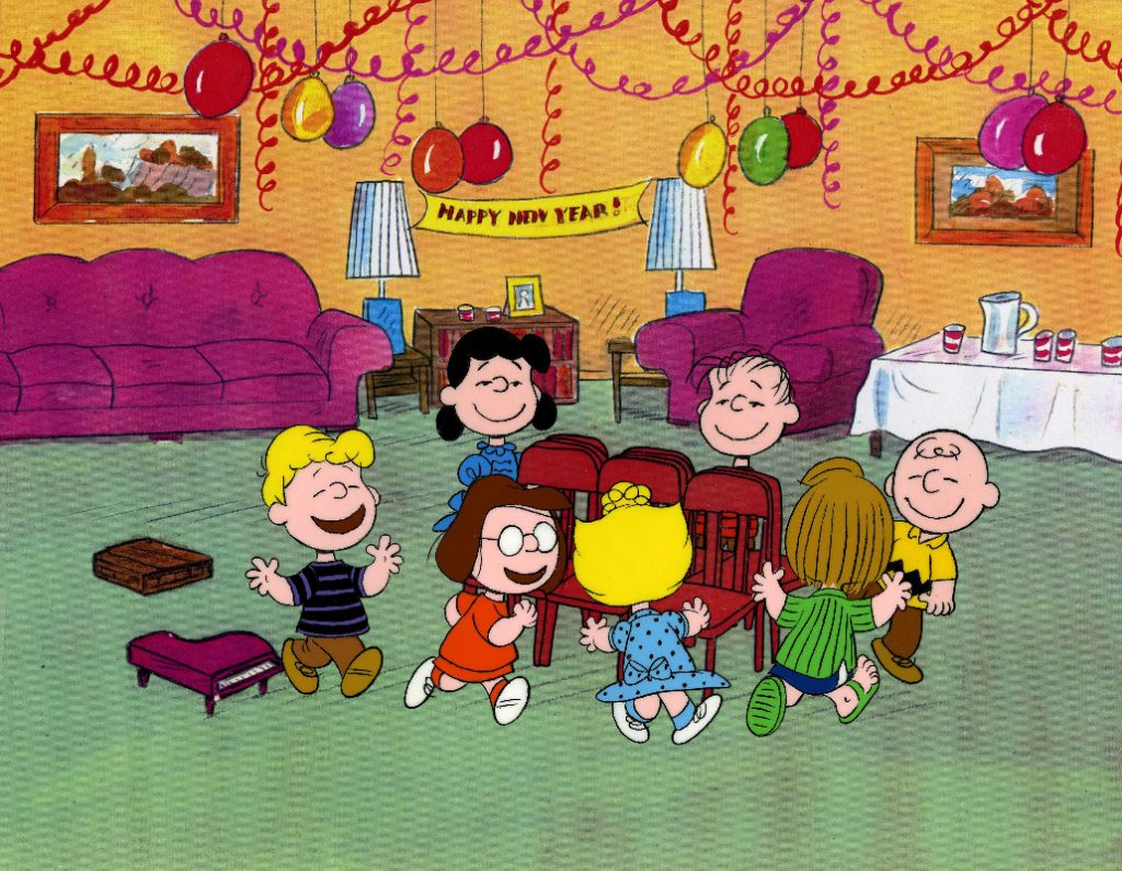"""HAPPY NEW YEAR, CHARLIE BROWN - The ABC Television Network and the PEANUTS gang will ring in the new year with the half-hour animated PEANUTS special, """"Happy New Year, Charlie Brown,"""" created by late cartoonist Charles M. Schulz, airing MONDAY, DECEMBER 28 (8:00-9:00 p.m., ET), on the ABC Television Network. (© 1958, 1965, 1986 United Feature Syndicate Inc.) SCHROEDER, SALLY, MARCIE, SALLY, LINUS, PEPPERMINT PATTY, CHARLIE BROWN"""